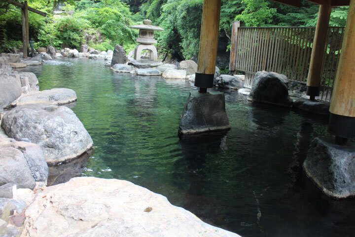 Out door onsen in the river