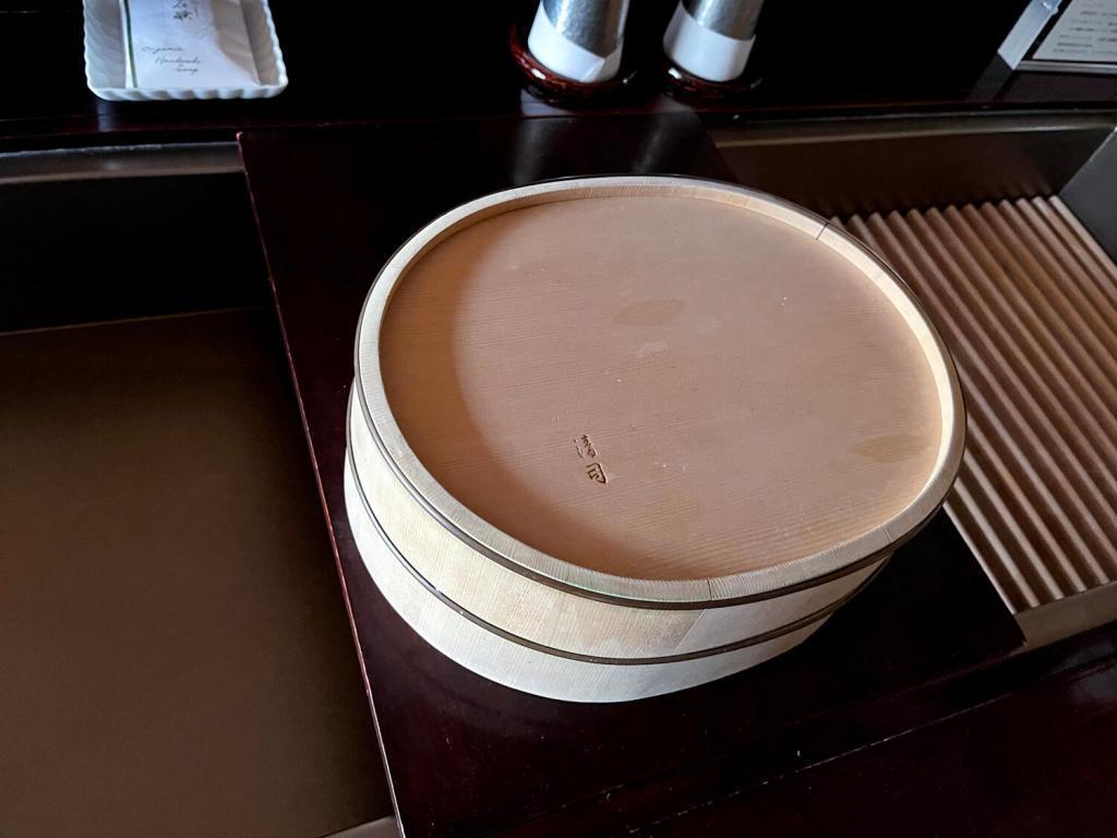 A wooden washbowl, made by Kiyotsugu Nakagawa, a living national treasure of Wood Bamboo Works